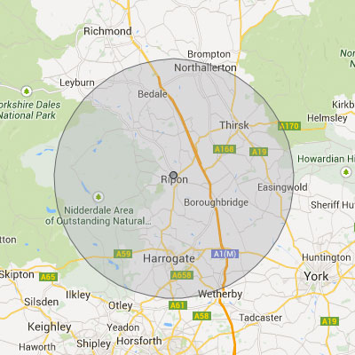 Coverage area map - Ripon Landscapes on