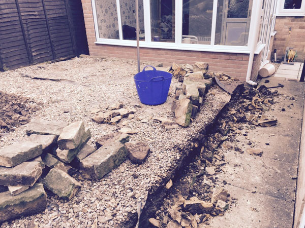 Patio & wall before